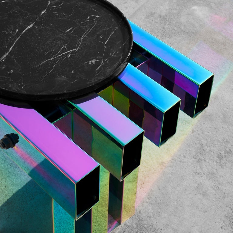 Rainbow Color Stainless Steel Hot Side Table by Studio Buzao For Sale 4