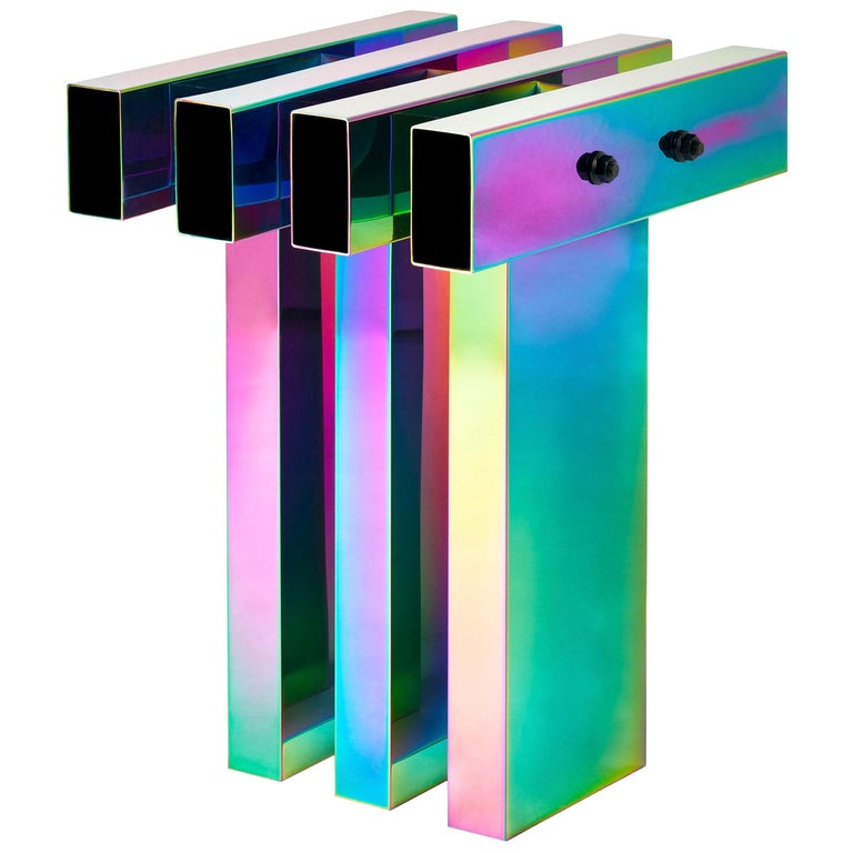 Rainbow Color Stainless Steel Hot Side Table by Studio Buzao For Sale