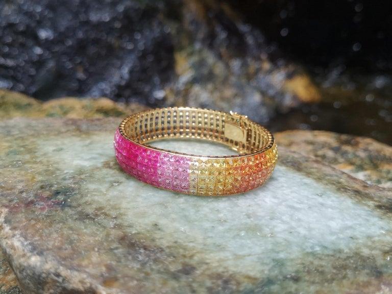Rainbow Colour Sapphire Bracelet Set in 18 Karat Gold Settings For Sale 4