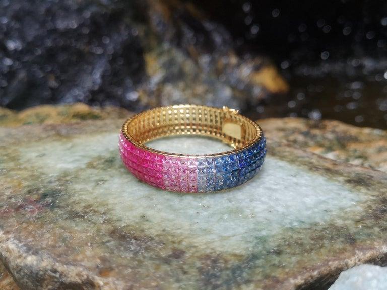 Rainbow Colour Sapphire Bracelet Set in 18 Karat Gold Settings For Sale 5
