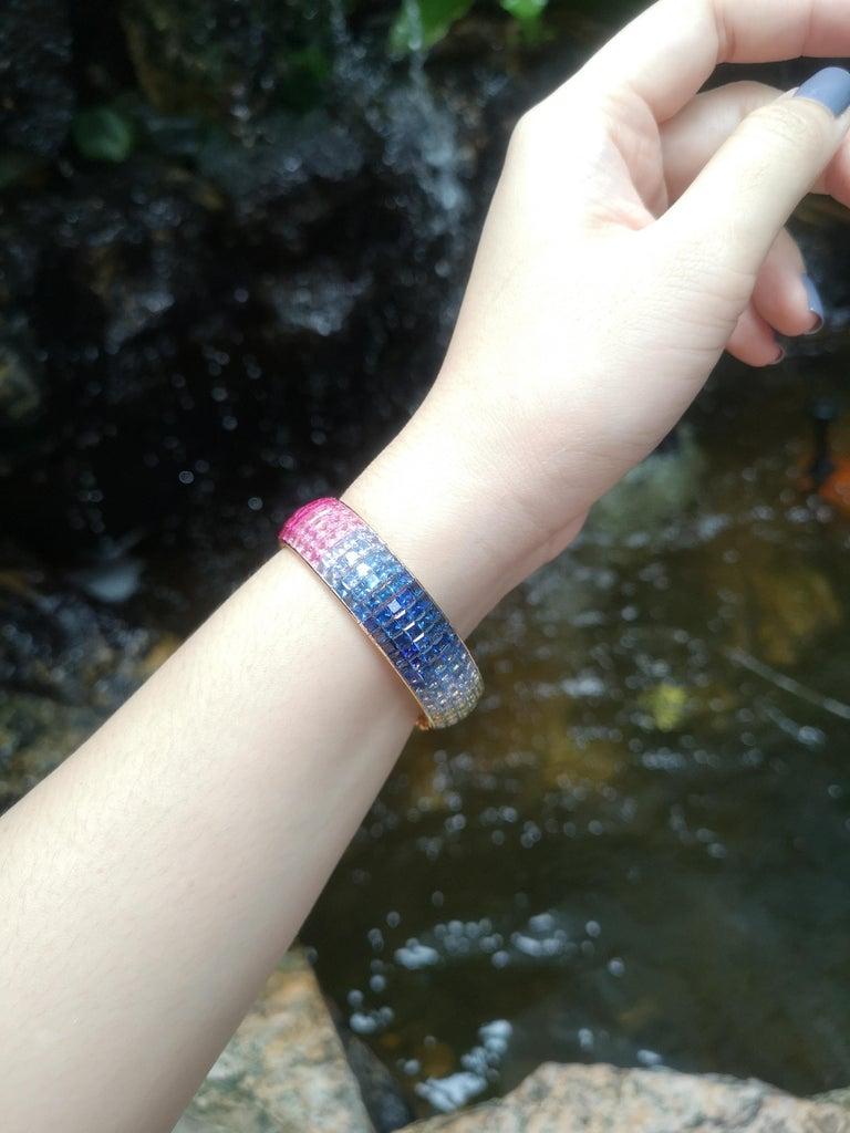 Princess Cut Rainbow Colour Sapphire Bracelet Set in 18 Karat Gold Settings For Sale