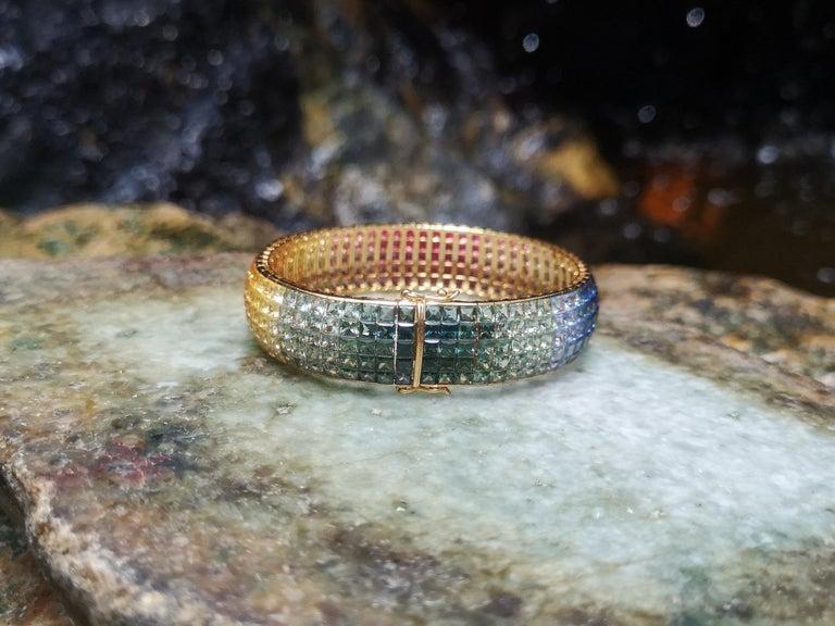 Rainbow Colour Sapphire Bracelet Set in 18 Karat Gold Settings For Sale 2