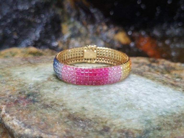 Rainbow Colour Sapphire Bracelet Set in 18 Karat Gold Settings For Sale 3