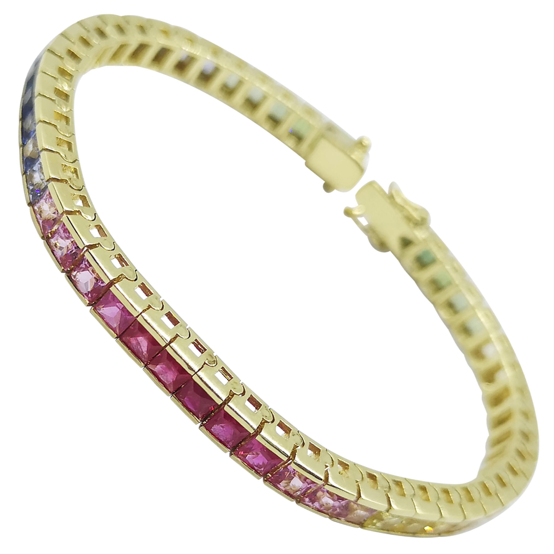 Rainbow Color Sapphire Bracelet Set in 18 Karat Gold Settings