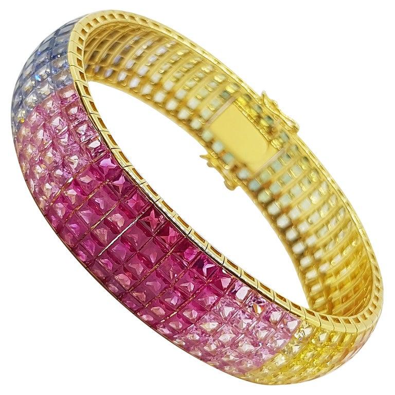 Rainbow Colour Sapphire Bracelet Set in 18 Karat Gold Settings For Sale