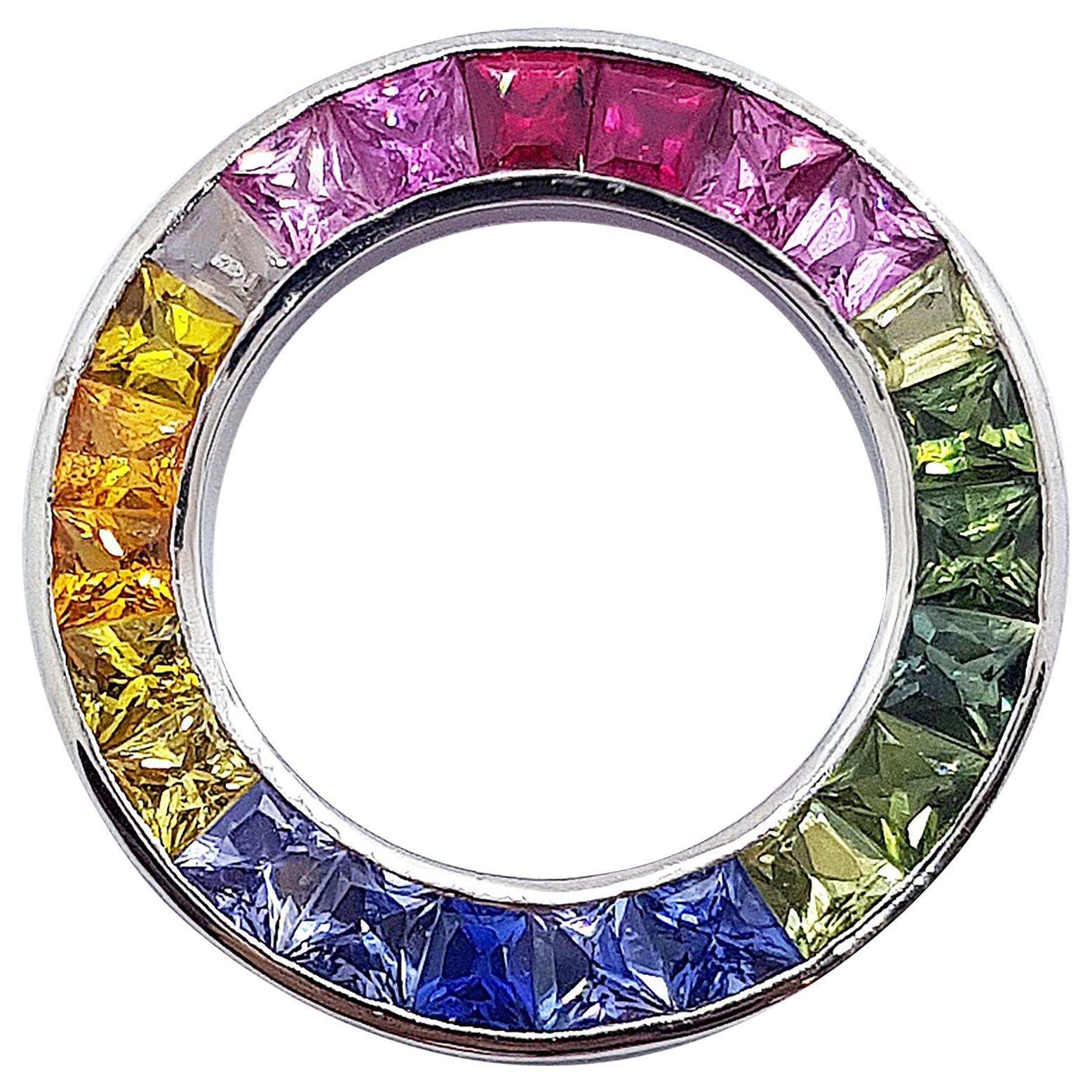 Rainbow Colour Sapphire Circle Pendant Set in 18 Karat White Gold Settings
