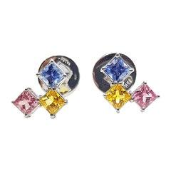 Rainbow Colour Sapphire Earrings Set in 18 Karat White Gold Settings
