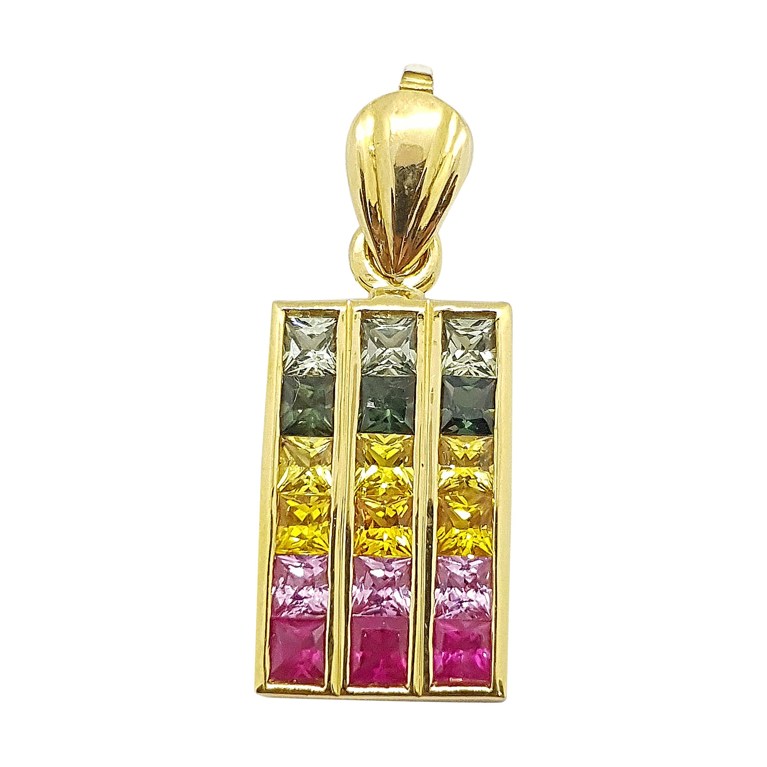 Rainbow Colour Sapphire Pendant Set in 18 Karat Gold Settings
