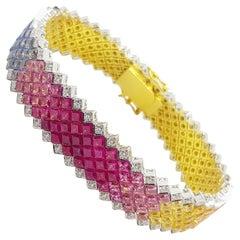 Rainbow Colour Sapphire with Diamond Bracelet Set in 18 Karat Gold Settings