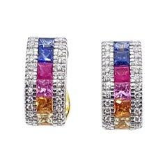 Rainbow Colour Sapphire with Diamond Earring Set in 18 Karat Gold Settings