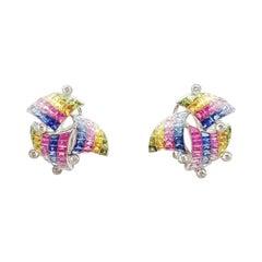 Rainbow Colour Sapphire with Diamond Earrings in 18 Karat White Gold Settings