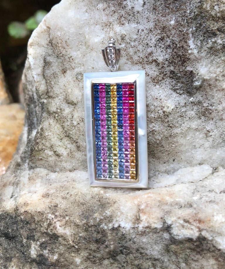Rainbow Colour Sapphire with Diamond Pendant Set in 18 Karat White Gold Settings For Sale 2