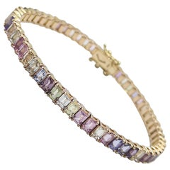 Rainbow Color Sapphire Bracelet Set in 18 Karat Rose Gold Settings