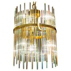 Rainbow Crystal Rod and Brass Chandelier or Lantern by Gaetano Sciolari, 1960s