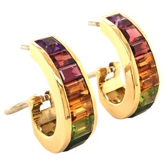 Rainbow Earclips in 18 Karat Yellow Gold