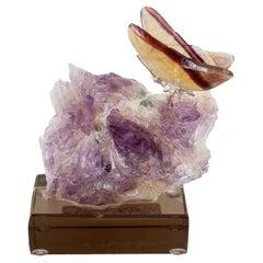 Rainbow Fluorite Butterfly on Purple Amethyst Mineral Base