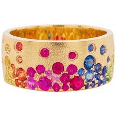Rainbow Galaxy Cigar Ring, 14 Karat Yellow Gold Cigar Band, Brushed, Sapphire