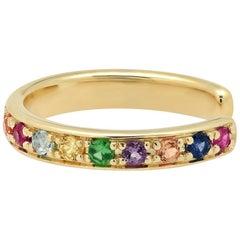 Rainbow Gemstone Ear Cuff Earring, Gold, Ben Dannie