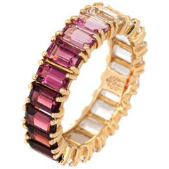Rainbow Gemstone Eternity Ring 14 Karat Yellow Gold Jewelry Emerald Cuts