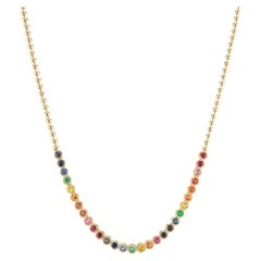 Rainbow Gold Necklace with Emeralds, Sapphires, and Rubies by ARK Fine Jewelry