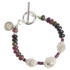 Rainbow Love Tourmaline and Sterling Silver Bracelet