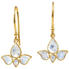 Rainbow Moonstone 18 Karat Yellow Gold Lotus Earrings