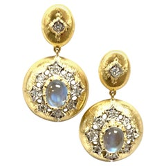 Rainbow Moonstone and Diamond, 18k Yellow Gold Florentine Circle Drop Earrings