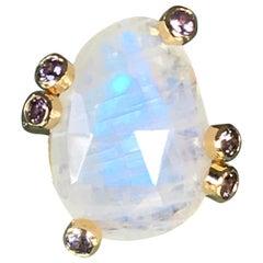 Rainbow Moonstone and Spinel 18 Karat Gold Ring