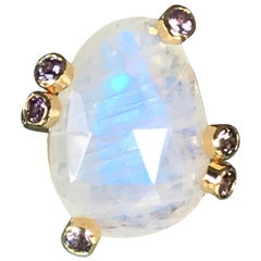 Joon Han Rainbow Moonstone and Spinel 18 Karat Gold Solitaire Cocktail Ring