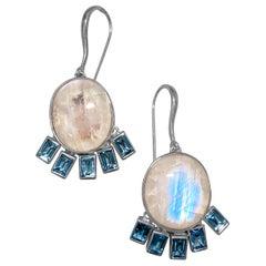 Stephen Dweck Rainbow Moonstone & Blue Topaz Drop Dangle Earrings