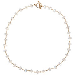 Rainbow Moonstone Rondelle Necklace in Gold