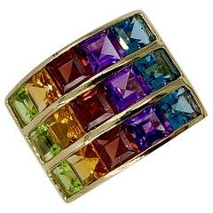 Rainbow Multigem Ring Peridot Citrine Garnet Amethyst Topaz 14 Karat Gold Retro