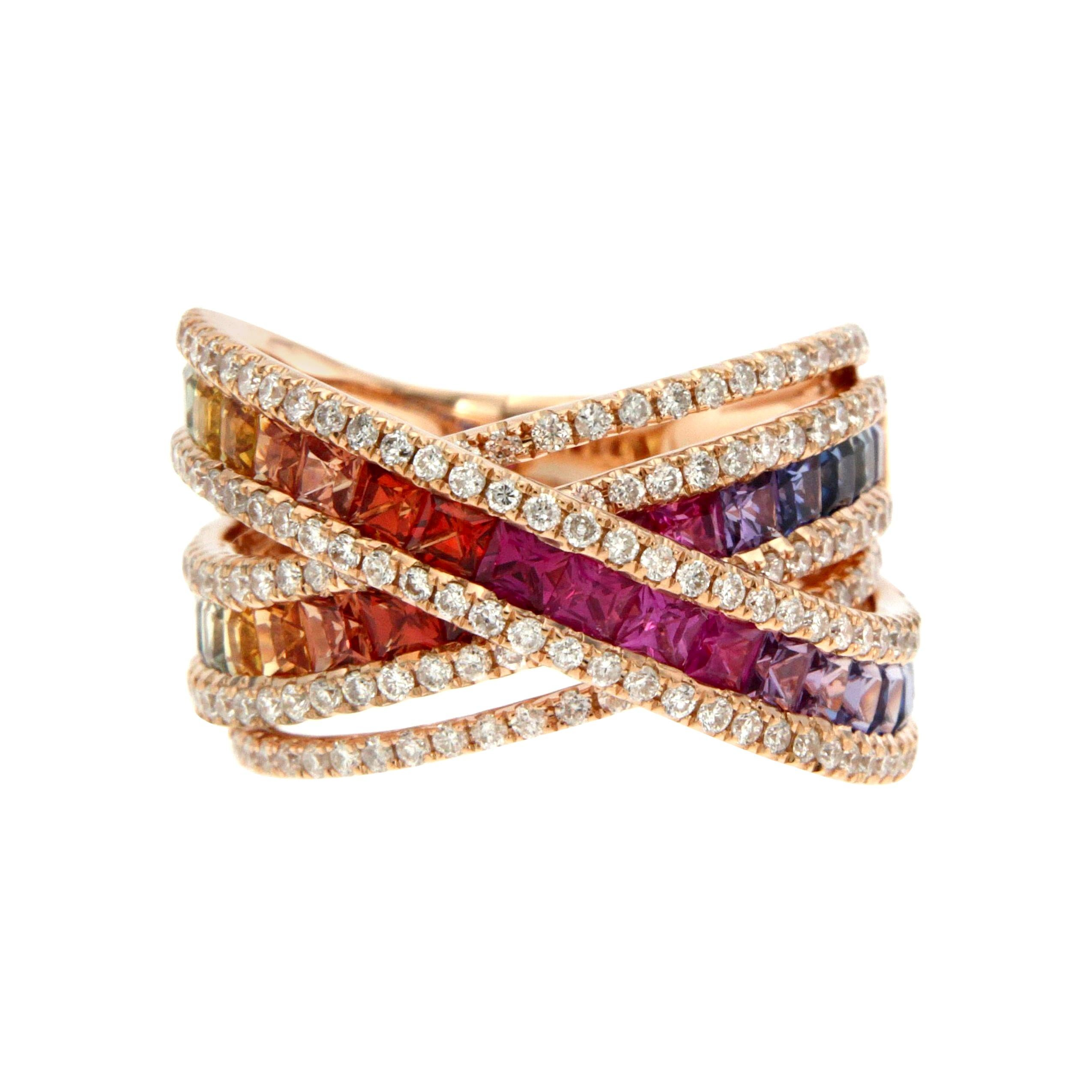 Rainbow Multisapphire Diamond Rose Gold 18k Band Ring for Her