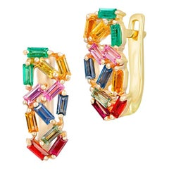 Rainbow Multistone Rose Yellow Sapphire Ruby Emerald Gold Lever-Back Earrings