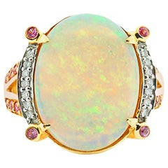 Rainbow Opal and Diamond, Pink Sapphire Ring 14 Karat Yellow Gold