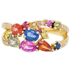 Rainbow Sapphire and Diamond Fashion Band 14 Karat Gold Ring 1.50 Carat Sapphire