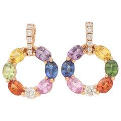 Rainbow Sapphire and Diamond Hoop Earrings in 18 Karat Rose Gold