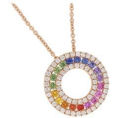 Rainbow Sapphire and Diamond Pendant in Rose Gold