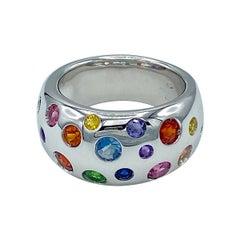 Rainbow Sapphire Aquamarine Amethyst Semiprecious Tsavorite 18KT Gold Band Ring