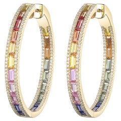 Rainbow Sapphire Diamond Hoop Earrings in 14 Karat Yellow Gold