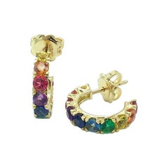Rainbow Sapphire Emerald Semiprecious Stone 18 Karat Gold Earrings Made in Italy