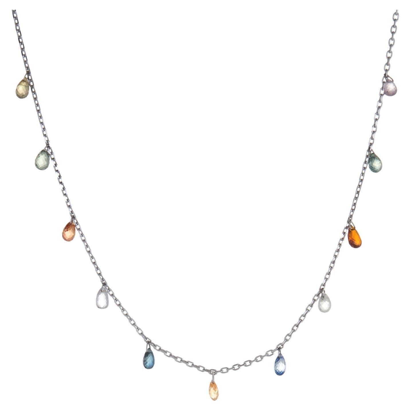 Rainbow Sapphire Fringe Necklace 14k White Gold Choker Briolette Estate