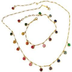 Rainbow Sapphire Gemstone Handmade Necklace and Bracelet White 18 Kt Gold