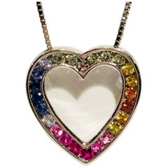 Rainbow Sapphire Open Heart Shaped White Gold Pendant and Chain