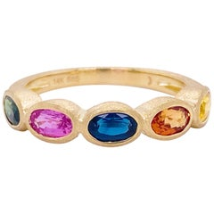 Rainbow Sapphire Ring, 14 Karat Yellow Gold Bezel Band, Satin Finish