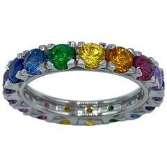 Rainbow Sapphire Semiprecious Stone White 18 Karat Gold Ring Made in Italy
