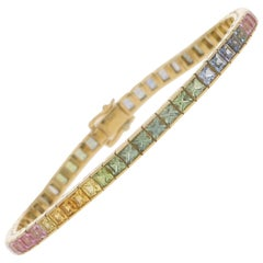 Rainbow Sapphire Tennis Line Bracelet in 18 Karat Yellow Gold