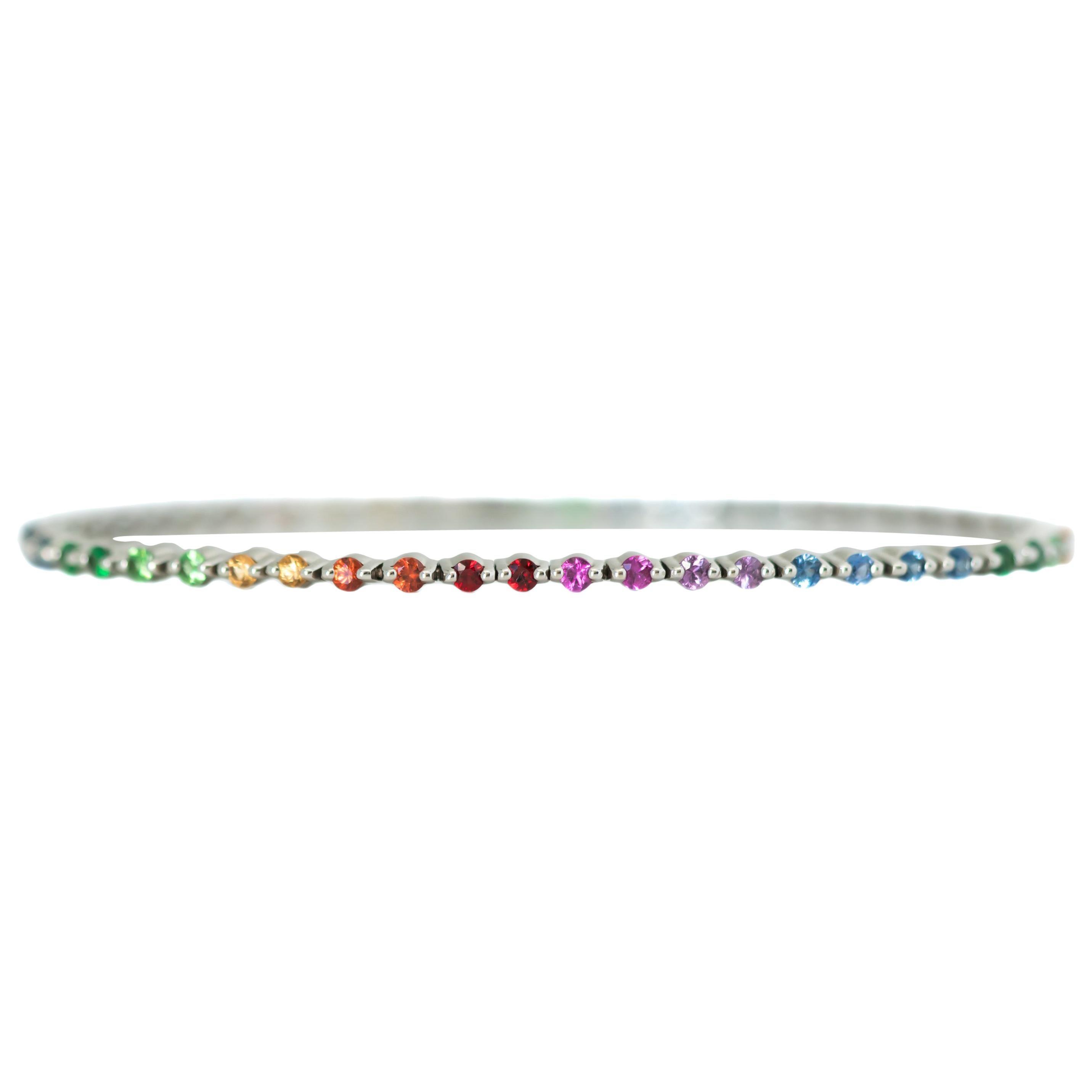 Rainbow Sapphires 18 Karat White Gold Tennis Bracelet