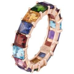 Rainbow Semi Precious Gemstone Band 6.5 Estate 14k Gold Emerald Eternity Ring