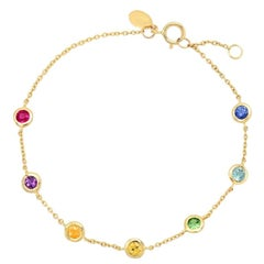 Rainbow Set Gemstone Bezel Set Bracelet 0.80 Carat, 14 Karat Gold, Ben Dannie
